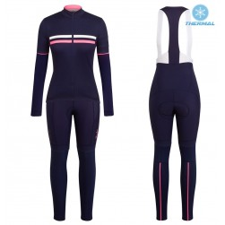 2017 Rapha Brevet Blue-Pink Women Thermal Cycling Jersey And Bib Pants Set