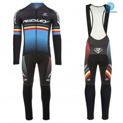 2017 Ridley Rincon Black-Blue Thermal Cycling Jersey And Bib Pants Set