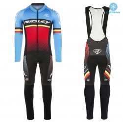 2017 Ridley Rincon Blue-Red Thermal Cycling Jersey And Bib Pants Set