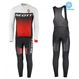 2017 Scott RC White-Black-Red Thermal Cycling Jersey And Bib Pants Set