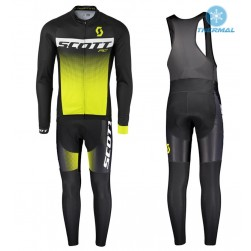 2017 Scott RC Black-Yellow Thermal Cycling Jersey And Bib Pants Set