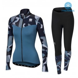 2017 Spоrtful Primavera Blue Women Thermal Cycling Jersey And Pants Set