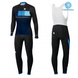 2017 Spоrtful Stripe Blue Thermal Cycling Jersey And Bib Pants Set