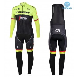 2017 Trek Pro Race Yellow Thermal Cycling Jersey And Bib Pants Set