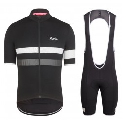 2017 Rapha Brevet Black-White Cycling Jersey And Bib Shorts Set