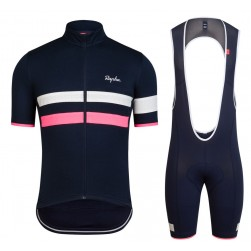 2017 Rapha Brevet Blue-Pink Cycling Jersey And Bib Shorts Set