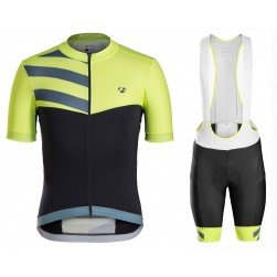 2016 Bontrager Velocis Yellow-Black Sleeve Cycling Jersey And Bib Shorts Set