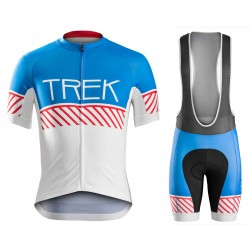 2016 Bontrager Trek Specter Vintage White-Blue Cycling Jersey And Bib Shorts Set