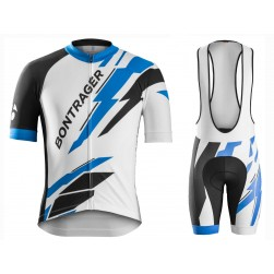 2016 Bontrager Specter Blue-White Sleeve Cycling Jersey And Bib Shorts Set