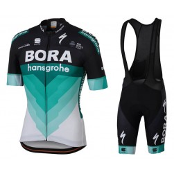 2018 Team Bora Hansgrohe Black Cycling Jersey And Bib Shorts Set