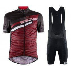 2018 Craft Reel Graphic Red Cycling Jersey And Bib Shorts Set