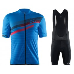 2018 Craft Reel Graphic Blue Cycling Jersey And Bib Shorts Set