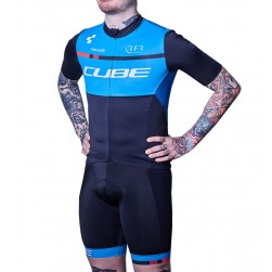 2018 Team Cube Blue Cycling Jersey And Bib Shorts Set