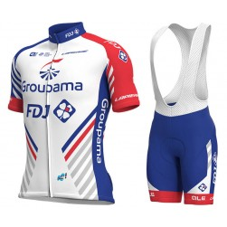 2018 Team FDJ White Cycling Jersey And Bib Shorts Set