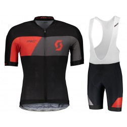 2018 Scott RC Premium Black-Red Cycling Jersey And Bib Shorts Set