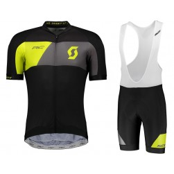 2018 Scott RC Premium Black-Yellow Cycling Jersey And Bib Shorts Set
