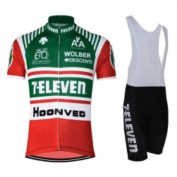 1986 Retro 7-Eleven Descente Green-Red Cycling Jersey And Bib Shorts Set