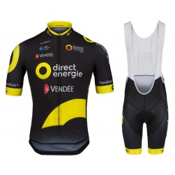 2018 Direct Energie Team Cycling Jersey And Bib Shorts Set