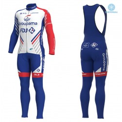 2018 Team FDJ White Thermal Cycling Jersey And Bib Pants Set