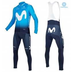 2018 Movistar Team Blue Thermal Cycling Jersey And Bib Pants Set
