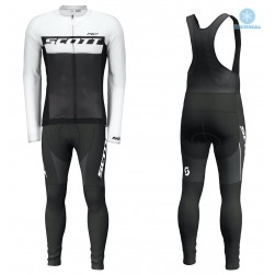 2018 Scott-RC Black-White Thermal Cycling Jersey And Bib Pants Set