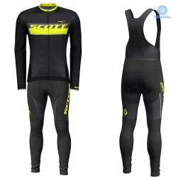 2018 Scott-RC Black-Yellow Thermal Cycling Jersey And Bib Pants Set