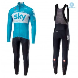 2018 SKY Team Blue Thermal Cycling Jersey And Bib Pants Set