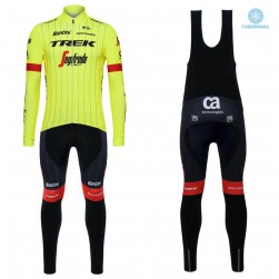 2018 Trek Segafredo Yellow Thermal Cycling Jersey And Bib Pants Set