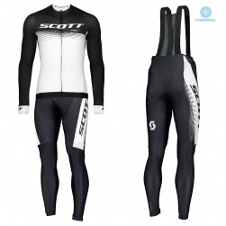 2019 Scott-RC PRO Black-White Thermal Cycling Jersey And Bib Pants Set
