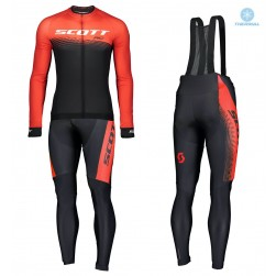 2019 Scott-RC PRO Black-Red Thermal Cycling Jersey And Bib Pants Set