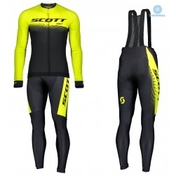 2019 Scott-RC PRO Black-Yellow Thermal Cycling Jersey And Bib Pants Set