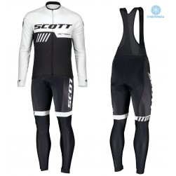 2019 Scott-RC-Team Black-White Thermal Cycling Jersey And Bib Pants Set