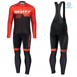 2019 Scott-RC-Team Black-Red Thermal Cycling Jersey And Bib Pants Set