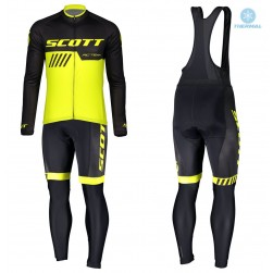 2019 Scott-RC-Team Black-Yellow Thermal Cycling Jersey And Bib Pants Set