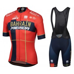 2019 Merida Bahrain Red Cycling Jersey And Bib Shorts Set