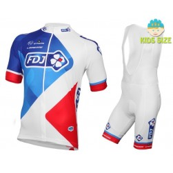 2016 Team FDJ White Kids Cycling Jersey And Bib Shorts Set