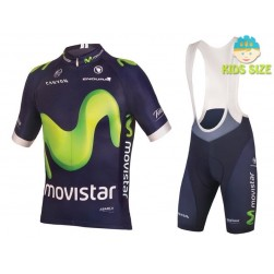 2016 Movistar Team Short Sleeve Kids Cycling Jersey And Bib Shorts Set