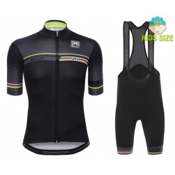 2016 Santini UCI Rainbow Line Black Kids Cycling Jersey And Bib Shorts Set