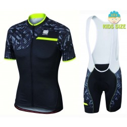 2016 Sportful Selva Black Camouflage Kids Cycling Jersey And Bib Shorts Set
