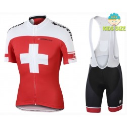 2016 Sportful Swiss Red Kids Cycling Jersey And Bib Shorts Set