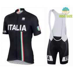 2016 Sportful Italy IT Black Kids Cycling Jersey And Bib Shorts Set