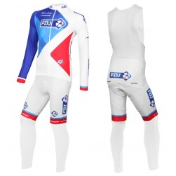 2016 Team FDJ White Long Sleeve Cycling Jersey And Bib Pants Set