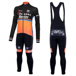 2016 Team DE-ROSA Black-Orange Long Sleeve Cycling Jersey And Bib Pants Set