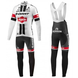 2016 Giant Alpecin TDF Edition White Long Sleeve Cycling Jersey And Bib Pants Set