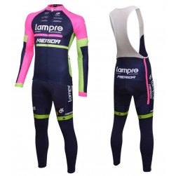 2016 Lampre Merida Long Sleeve Cycling Jersey And Bib Pants Set