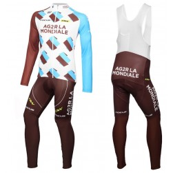 2016 Team Ag2r Long Sleeve Cycling Jersey And Bib Pants Set