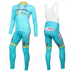 2016 Astana Pro Team Long Sleeve Cycling Jersey And Bib Pants Set