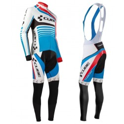 2016 Cube Teamline White-Blue Long Sleeve Cycling Jersey And Bib Pants Set
