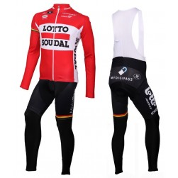 2016 Lotto Soudal Red Long Sleeve Cycling Jersey And Bib Pants Set