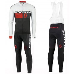 2016 Scott RC White-Black-Red Long Sleeve Cycling Jersey And Bib Pants Set